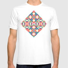 Colorful Geometric White Mens Fitted Tee MEDIUM