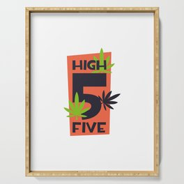 Funny High Five Marijuana Serving Tray