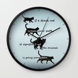 Black cat crossing, v.2 Wall Clock