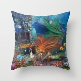 The Mermaid's Treasure Throw Pillow