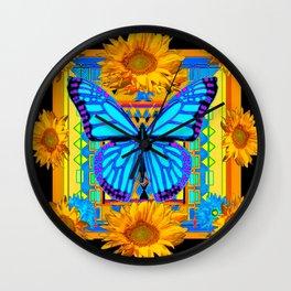 Golden Sunflowers Blue Butterfly black Art Wall Clock