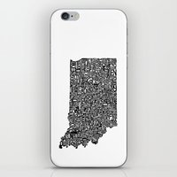 indiana iPhone & iPod Skins featuring Typographic Indiana by CAPow!