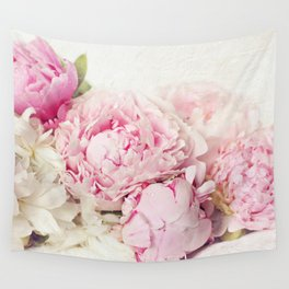 Peonies on white Wall Tapestry