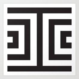 Black Greek Stripes Art Print