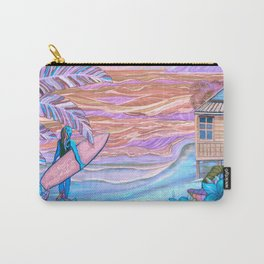 Hawaiian Coral And Teal Surfer Fine Art Carry-All Pouch