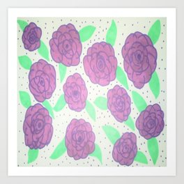 Purple Rose Pattern Art Print