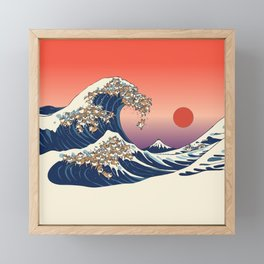 The Great Wave of Shiba Inu Framed Mini Art Print