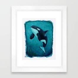 """""""The Matriarch"""" by Amber Marine ~ Orca / Killer Whale (J2 Granny) Watercolor Art, (Copyright 2016) Framed Art Print"""