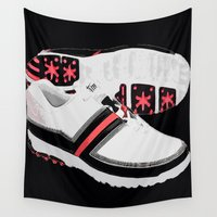 shoes Wall Tapestries featuring GOLF SHOES by aztosaha