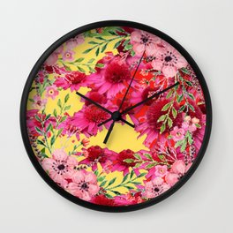 FUCHSIA-PINK FLOWERS YELLOW ART PATTERNS Wall Clock