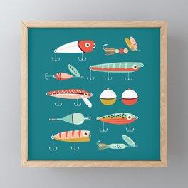 Fishing Lures Blue Framed Mini Art Print