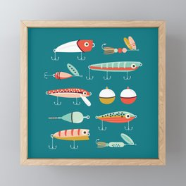 Fishing Lures Blue Framed Mini Art Print