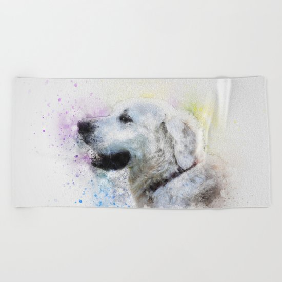Abstract Colorful Dog Beach Towel