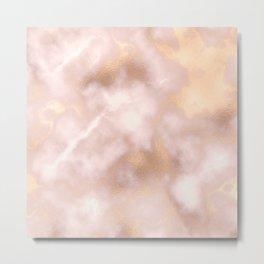 Blush pink faux gold vintage elegant marble Metal Print