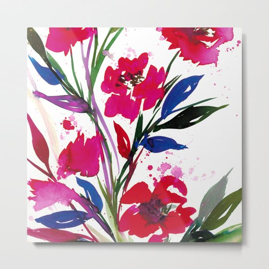 POCKETFUL OF POSIES 1, Colorful Summer Watercolor Floral Painting Abstract Red Blue Pink Flowers Art Metal Print