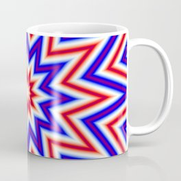 Red White and Blue Psychedelic Mandala Star Pattern Coffee Mug