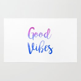 Good Vibes Watercolor Pink Blue Ombre Rug