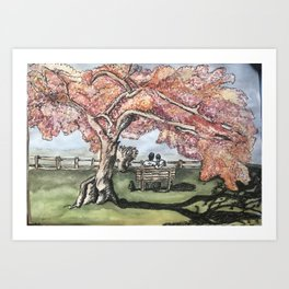 under the cherry blossoms Art Print