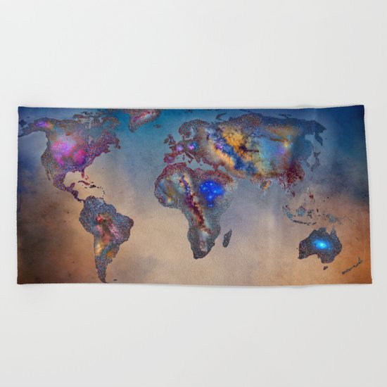Stars world map. Blue Beach Towel