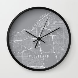 Cleveland Map, Ohio USA - Pewter Wall Clock
