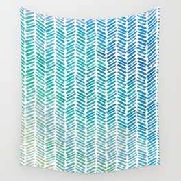 Handpainted Herringbone Chevron pattern - small - teal watercolor on white Wall Tapestry