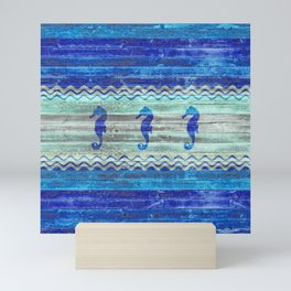 Rustic Navy Blue Coastal Decor Seahorses Mini Art Print