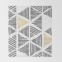 Simple Geometric Zig Zag Pattern-Black Gold White -Mix & Match with Simplicity of life Throw Blanket