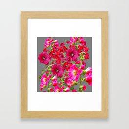 AWESOME FUCHSIA  RED HOLLYHOCKS GARDEN GREY ART Framed Art Print