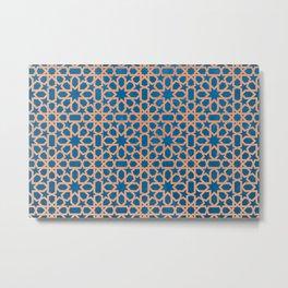 Blue, orange Design - Geometric oriental pattern Metal Print