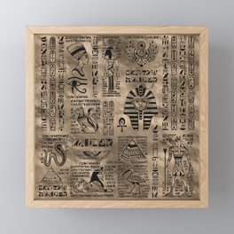 Egyptian hieroglyphs and deities - Luxury Gold Framed Mini Art Print