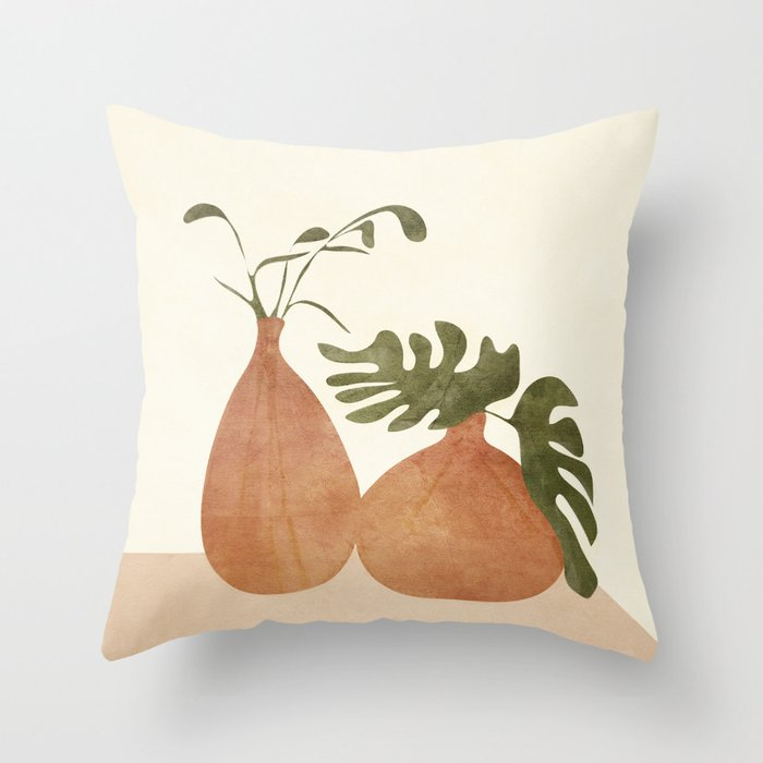 Two Living Vases Throw Pillow