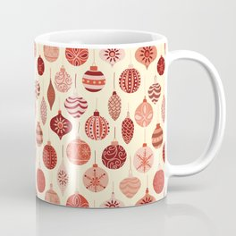 Christmas Ornaments Red Pink Beige Pattern Coffee Mug