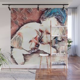 Copper and Penny Kisses Dogs Wall Mural
