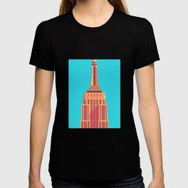 Empire State Building New York Art Deco - Cyan T-shirt