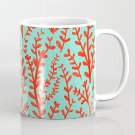 Mint Green and Red Floral Leaves Gouache Pattern Coffee Mug