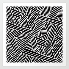 Abstract black & white Lines and Triangles Pattern-Mix and Match with Simplicity of Life Art Print