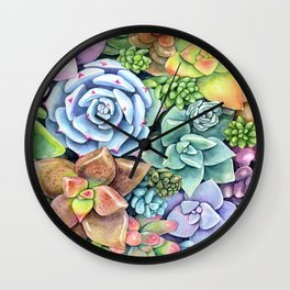Watercolor Succulent Garden #49 Wall Clock