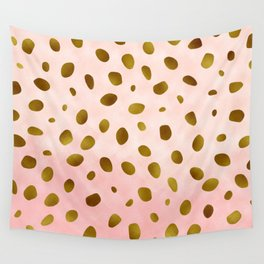 Blush Pink With Gold Foil Animal Print Pattern Wall Tapestry