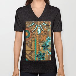 Hawaiian - Samoan - Polynesian gold and Teal Boar Tusk Print Unisex V-Neck