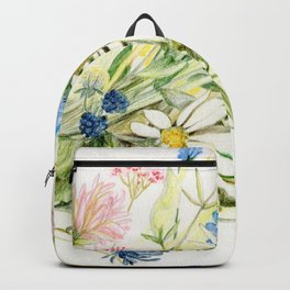 Bouquet of Wildflowers Original Colored Pencil Drawing Backpack