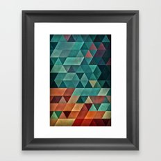 Teal/Orange Triangles Framed Art Print