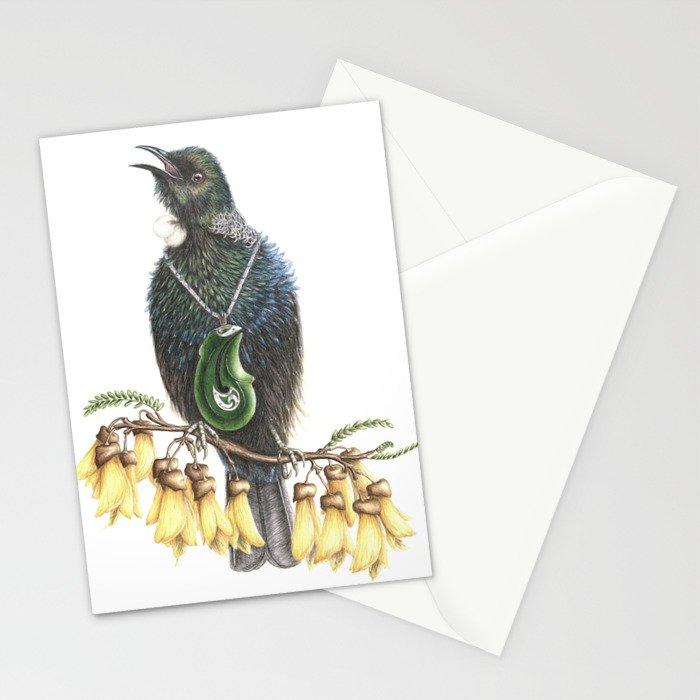 Tui with Kowhai & Jade Pendant Stationery Cards