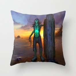 Toxic Surfer Throw Pillow