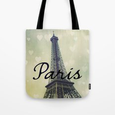 Paris Typography Eiffel Tower  Tote Bag