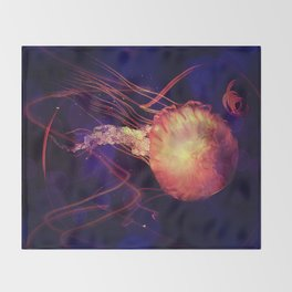 Jellyfish of the Blacklight Electro Rave Throw Blanket