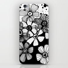 Black and White Abstract Flowers iPhone & iPod Skin