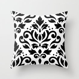 Scroll Damask Large Pattern Black on White Throw Pillow