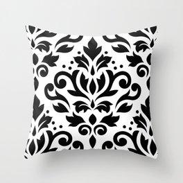 Scroll Damask Large Pattern Black on White Throw Pillow