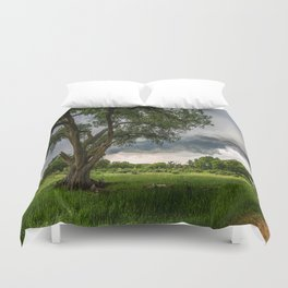 Big Tree - Tall Cottonwood and Passing Storm in Texas Duvet Cover