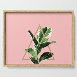Ficus Elastica Geo Finesse #1 #tropical #foliage #decor #art #society6 Serving Tray